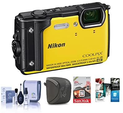 51NCvQynHqL. AC  - Nikon Coolpix W300 Point & Shoot Camera, Yellow - Bundle with 16GB SDHC Card, Camera Case, Cleaning Kit, PC Software Package
