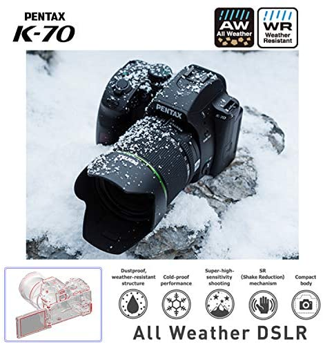 51Nr1RP7UOL. AC  - Pentax K-70 Weather-Sealed DSLR Camera with 18-135mm Lens (Black) with Adobe Creative Cloud Photography Plan 20 GB (Photoshop+Lightroom) 12-Month Subscription