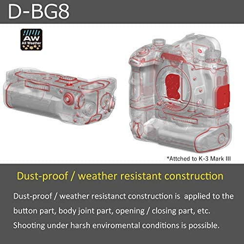 51RG yruP7L. AC  - PENTAX Battery Grip D-BG8 Black for Pentax K-3 III Flagship DSLR Dust-Proof and Weather Resistant Construction with Capacity to Hold Additional D-LI90 Battery (37048)