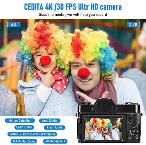 51RHzXxQhkL. AC  - 4K Digital Camera 48MP Camera Vlogging Camera for YouTube 30FPS Video Camera 16X Digital Zoom Camera with Flip Screen Camera (Fixed Focus&Without Micro sd Card)