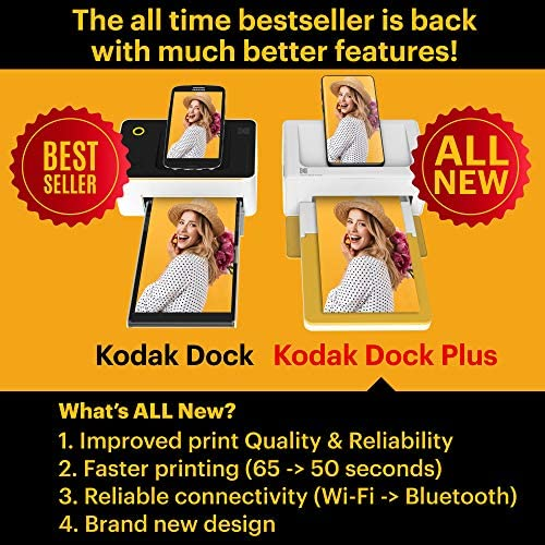 """51SP7cE9yqL. AC  - Kodak Dock Plus 4x6"""" Portable Instant Photo Printer, Compatible with iOS, Android and Bluetooth Devices Full Color Real Photo, 4Pass & Lamination Process, Premium Quality - Convenient and Practical"""