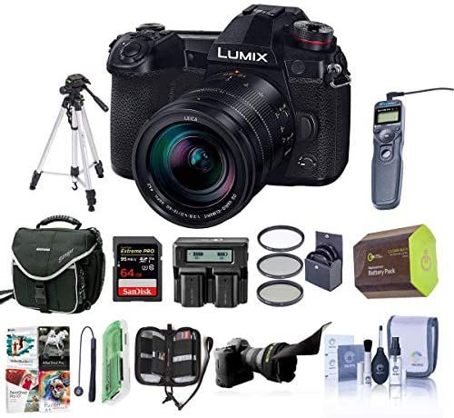 51TTD7y5NsL. AC  - Panasonic Lumix G9 Mirrorless Camera, Black with Lumix G Leica DG Vario-Elmarit 12-60mm F/2.8-4.0 Lens - Bundle with Case, 64GB SDHC U3 Card, Spare Battery, Tripod, Remote Shuter Release, and More