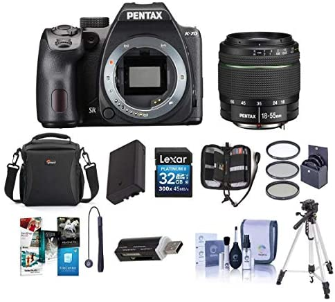 51WTmQ 073L. AC  - Pentax K-70 24MP Full HD DLR Camera with SMC DA 18-55mm f/3.5-5.6 AL WR Lens Black - Bundle with Holster Case, Spare Battery, Tripod, 62mm Filter Kit, Cleaning Kit, Software Package and More