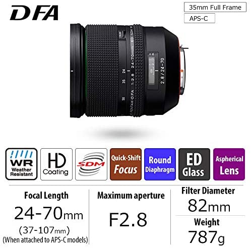 51ZPtkYauDL. AC  - HD PENTAX-D FA 24-70mmF2.8ED SDM WR High-performance standard zoom lens 24mm ultra-wide angle Weather-resistant construction Exceptional imaging power ED Glass Aspherical lens Latest lens coating