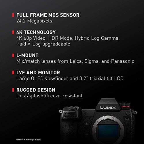 """51abX0bwXHL. AC  - Panasonic LUMIX S1 Full Frame Mirrorless Camera with 24.2MP MOS High Resolution Sensor, L-Mount Lens Compatible, 4K HDR Video and 3.2"""" LCD - DC-S1BODY"""