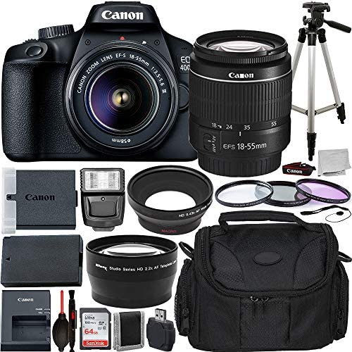 """51bZqeKNAXL. AC  - Canon EOS 4000D DSLR Camera with EF-S 18-55mm f/3.5-5.6 III Lens Advanced Bundle - Includes: Extended Life LPE10 Replacement Battery, 50"""" Aluminum Alloy Tripod & More"""