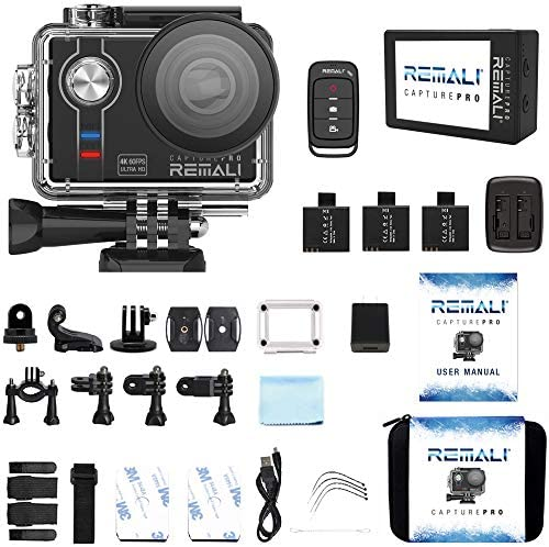 """51cPYG4K2XL. AC  - REMALI CapturePro 4K/60fps 20MP Waterproof Sports Action Camera Kit with Carrying Case + 3 Batteries, WiFi, 2"""" Touch Screen, 8X Zoom, Slow/Fast Motion, Remote/Voice Control, EIS, Distortion Correction"""