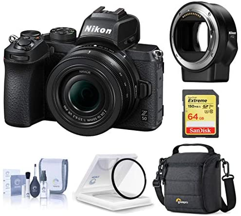 51dnu6nzhWL. AC  - Nikon Z 50 DX-Format Mirrorless Camera with 16-50mm f/3.5-6.3 VR Lens, Bundle with FTZ Mount Adapter and Accessories