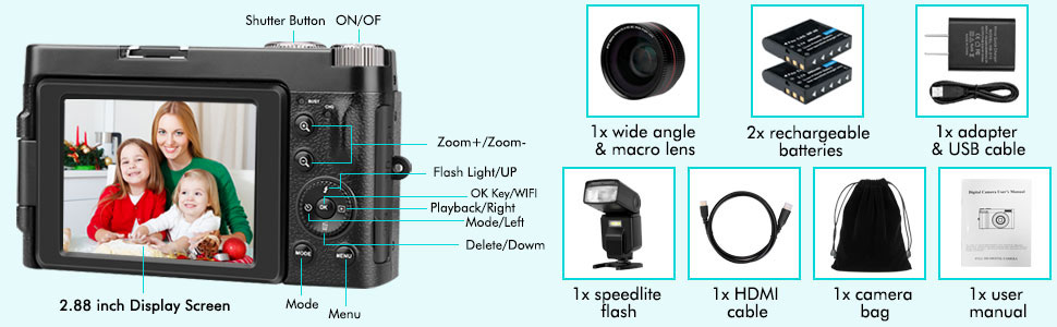 """51e48eac 24b8 47cb af4b 0f64f43b70cf.  CR0,0,970,300 PT0 SX970 V1    - Lecran Digital Camera, Video Camera FHD 1080P 30FPS 24MP Video Camcorder, YouTube Vlogging Camera with IR Night Vision, 2.88"""" Flip Screen, Speedlite Flash and Wide Angle Lens"""