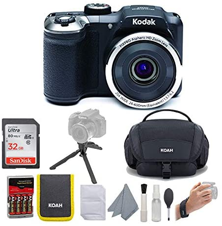 51iBFHwZEsL. AC  - KODAK PIXPRO AZ252 Astro Zoom Digital Camera (Black) Bundle with 32GB Card, Case, Koah Nostrand Avenue Gadget Bag with Accessory Kit and Rechargeable Batteries