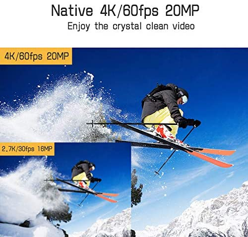 51jgKQlrhsL. AC  - Campark X30 Action Camera Native 4K 60fps 20MP WiFi with EIS Touch Screen Waterproof Camera 40M, 2x1350mAh Batteries and Professional Accessories