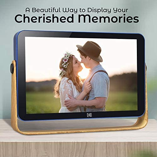 51jgXXQN80L. AC  - Kodak 10-Inch Smart Touch Screen Rechargeable Digital Picture Frame, Wi-Fi Enabled with HD Photo Display and Music/Video Support, Calendar, Weather and Location Updates (RWF-108) - Ocean Blue
