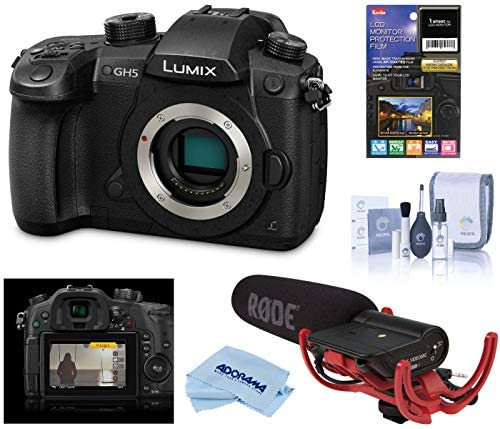 51kjQCJUAVL. AC  - Panasonic LUMIX GH5 4K Mirrorless Digital Camera, 20.3 Megapixel, DC-GH5 (Black), Bundle with Panasonic V-Log L Function Firmware Upgrade Kit, Rode VideoMic, LCD Protector, Cleaning Kit + Cloth