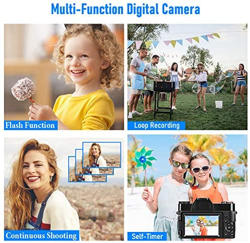 51mNc9x7UiL. AC  - 4K Digital Camera 48MP Camera Vlogging Camera for YouTube 30FPS Video Camera 16X Digital Zoom Camera with Flip Screen Camera (Fixed Focus&Without Micro sd Card)