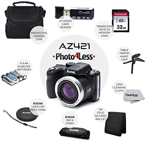51n1frroQiL. AC  - Kodak PIXPRO AZ401 Astro Zoom 16MP Digital Camera (Black) + Point & Shoot Camera Case + Transcend 32GB SD Memory Card + Rechargeable Batteries & Charger + USB Card Reader + Table Tripod + Accessories