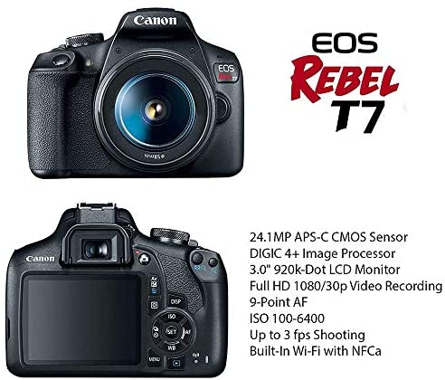 51nIR60Du4L. AC  - Canon EOS Rebel T7 DSLR Camera Bundle with Canon 18-55mm Lens + Canon EF 75-300mm f/4-5.6 III Lens + 2pc SanDisk 64GB Memory Cards + Accessory Kit