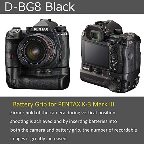 51omgbVREKL. AC  - PENTAX Battery Grip D-BG8 Black for Pentax K-3 III Flagship DSLR Dust-Proof and Weather Resistant Construction with Capacity to Hold Additional D-LI90 Battery (37048)