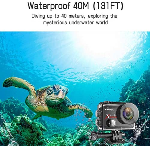 51pU8ubG12L. AC  - Campark X30 Action Camera Native 4K 60fps 20MP WiFi with EIS Touch Screen Waterproof Camera 40M, 2x1350mAh Batteries and Professional Accessories