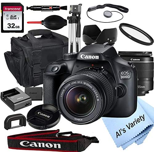 51qTqwM2y0L. AC  - Canon EOS 3000D (Rebel T100) DSLR Camera with 18-55mm f/3.5-5.6 Zoom Lens + 32GB Card, Tripod, Case, and More (18pc Bundle)