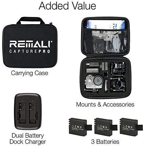 """51rSel7Bv5L. AC  - REMALI CapturePro 4K/60fps 20MP Waterproof Sports Action Camera Kit with Carrying Case + 3 Batteries, WiFi, 2"""" Touch Screen, 8X Zoom, Slow/Fast Motion, Remote/Voice Control, EIS, Distortion Correction"""
