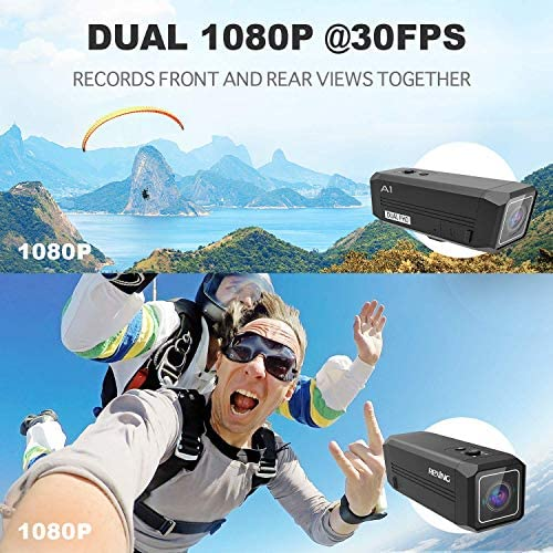 51rajFR3qWL. AC  - REXING A1 Two Way 2.7K Action Camera Front & Back 1080p@30fps w/WiFi/Wide Angle/Wrist Remote Control/Waterproof Extreme Sports Camcorder for Motorcycles/Bicycle/Sport Bike/Hiking/Cars
