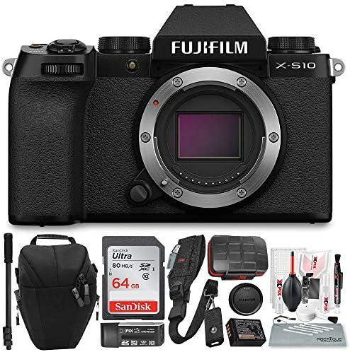 51tqhFMsqfL. AC  - Fujifilm X-S10 Mirrorless Digital Camera Body with Sleek Design Accessories Deluxe Bundle with 64GB SD Card, Case, Monopod, Card Reader and More