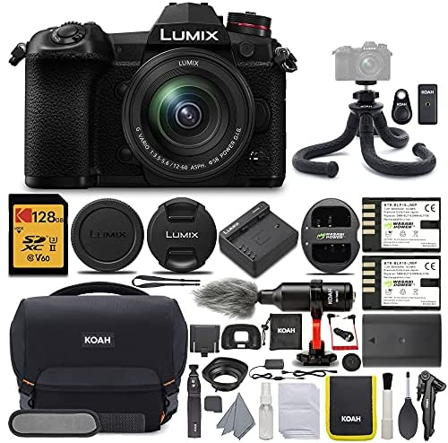 51vm0wCEYqS. AC  - Panasonic LUMIX G9 Mirrorless Camera with LUMIX G Vario 12-60mm Lens with 128GB UHS-II V60 SD Card and KOAH Pro Complete Accessory Starter Bundle (6 Items)