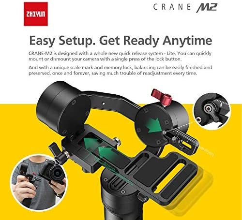 51xsbnpBoEL. AC  - Zhiyun Crane M2 Crane-M2 Gimbal [Official Dealer], 3 Axis Handheld Gimbal for Mirrorless Cameras/Smartphone/Action Cameras for Sony A6000/A6300/A6400/A6500/Canon M6/G7 X Mark II, for GoPro Hero 7/6/5