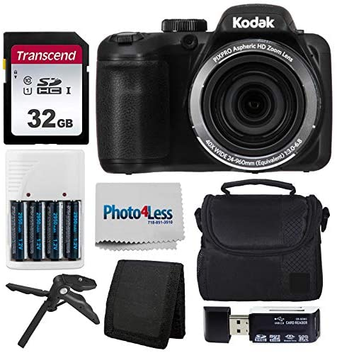 51zEBia+SaL. AC  - Kodak PIXPRO AZ401 Astro Zoom 16MP Digital Camera (Black) + Point & Shoot Camera Case + Transcend 32GB SD Memory Card + Rechargeable Batteries & Charger + USB Card Reader + Table Tripod + Accessories