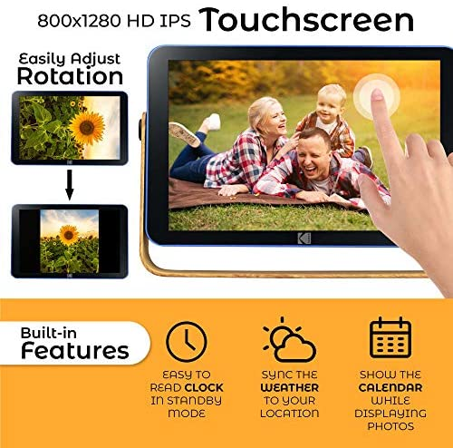 51zR94DpP+L. AC  - Kodak 10-Inch Smart Touch Screen Rechargeable Digital Picture Frame, Wi-Fi Enabled with HD Photo Display and Music/Video Support, Calendar, Weather and Location Updates (RWF-108) - Ocean Blue