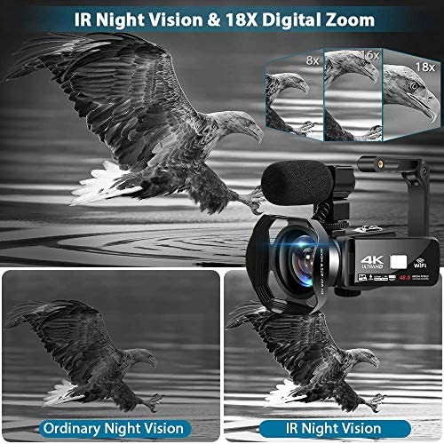 51zo3rYh4cL. AC  - 4K Camcorder 48MP 18X Digital Camera WiFi IR Night Vision Video Camera for YouTube 3.0inch HD Touch Screen Vlogging Camera with External Microphone, Stabilizer and Remote Control