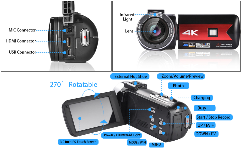 5e38bbf9 fa88 442e 99ab 0019167dcd6e.  CR0,0,970,600 PT0 SX970 V1    - OIEXI Video Camera 4K Camcorder Vlog Camera for YouTube, HD Digital Camera with 16X Digital Zoom and Night Vision, Video Recorder with Microphone (32GB SD Card, 2 Batteries Included