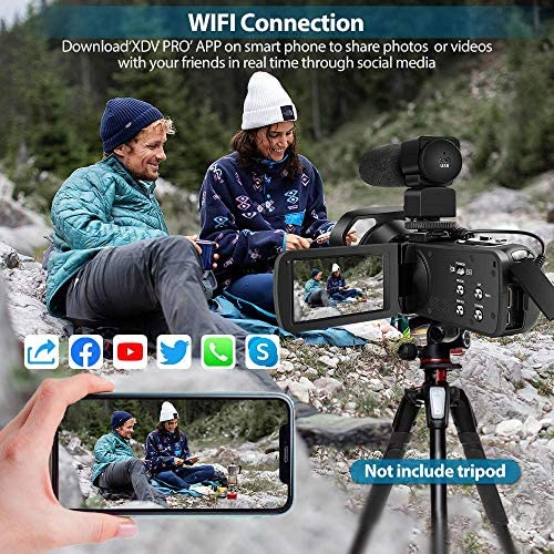 61 85xUZzGL. AC  - 4K Camcorder 48MP 18X Digital Camera WiFi IR Night Vision Video Camera for YouTube 3.0inch HD Touch Screen Vlogging Camera with External Microphone, Stabilizer and Remote Control