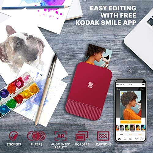 61GWEHqhBBL. AC  - KODAK Smile Instant Digital Bluetooth Printer for iPhone & Android – Edit, Print & Share 2x3 Zink Photos w/ Smile App (Red)