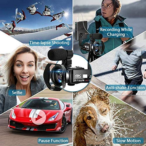 61P3kfS5daL. AC  - 4K Camcorder 48MP 18X Digital Camera WiFi IR Night Vision Video Camera for YouTube 3.0inch HD Touch Screen Vlogging Camera with External Microphone, Stabilizer and Remote Control