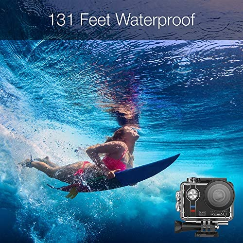 """61jGf78dkAL. AC  - REMALI CapturePro 4K/60fps 20MP Waterproof Sports Action Camera Kit with Carrying Case + 3 Batteries, WiFi, 2"""" Touch Screen, 8X Zoom, Slow/Fast Motion, Remote/Voice Control, EIS, Distortion Correction"""