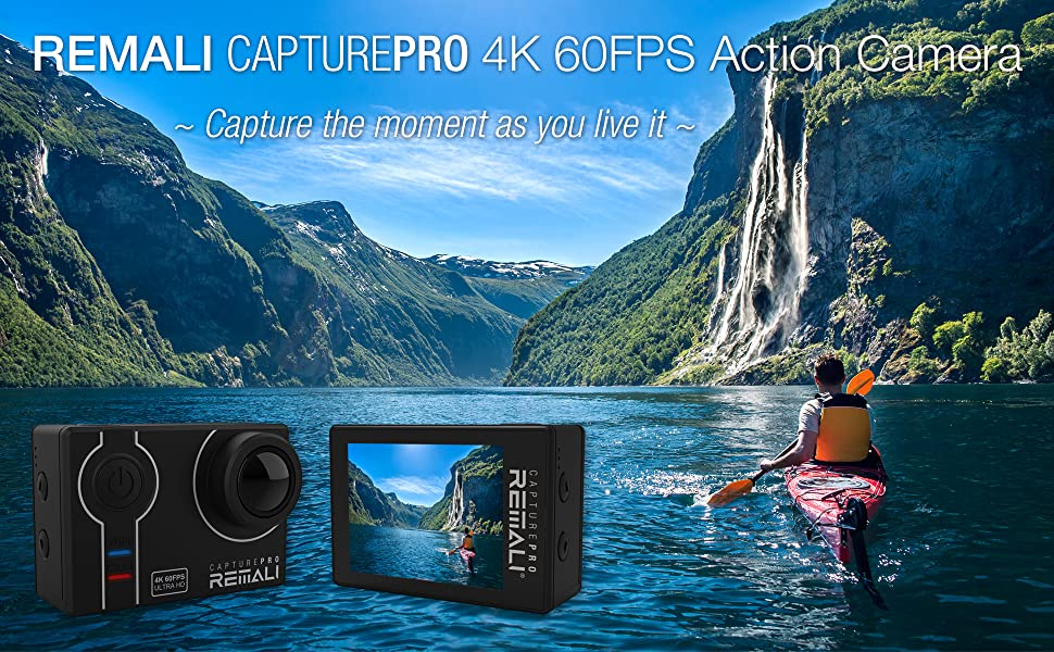 """71c6272f 7192 4a0f bd8a 22e2435fede4.  CR0,0,1940,1200 PT0 SX970 V1    - REMALI CapturePro 4K/60fps 20MP Waterproof Sports Action Camera Kit with Carrying Case + 3 Batteries, WiFi, 2"""" Touch Screen, 8X Zoom, Slow/Fast Motion, Remote/Voice Control, EIS, Distortion Correction"""