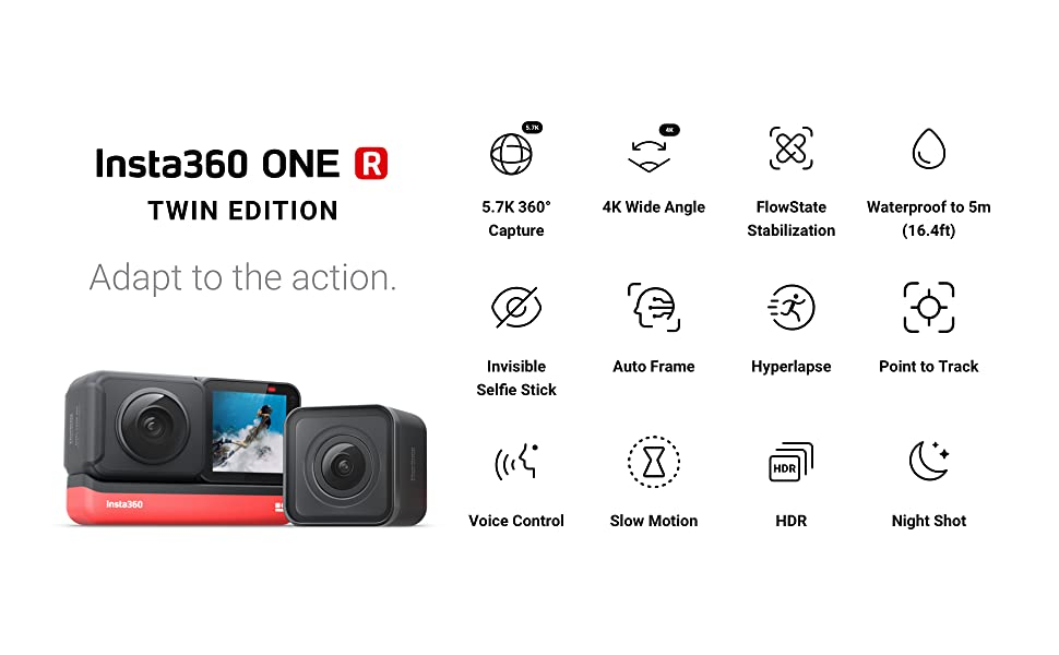 75fe2ee5 9872 4ad8 945a ad18ce4019fe.  CR0,0,1940,1200 PT0 SX970 V1    - Insta360 ONE R Twin Edition – Action Camera & 360 Camera with Interchangeable Lenses, Stabilization, IPX8 Waterproof, Touch Screen, AI Editing