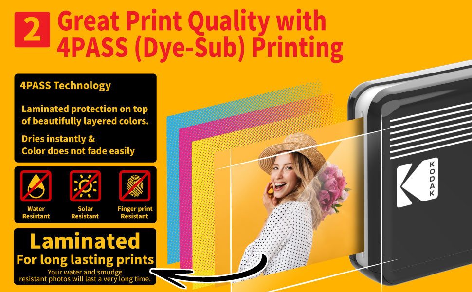 """81ced6c6 cf5d 4d93 8bdc b6c0ca0917b5.  CR0,0,970,600 PT0 SX970 V1    - Kodak Mini 2 Retro 2.1x3.4"""" Portable Photo Printer (60 Sheets), Wireless Connection, Compatible with iOS, Android & Bluetooth, Real Photo, 4PASS & Lamination Process, Premium Quality- Black"""