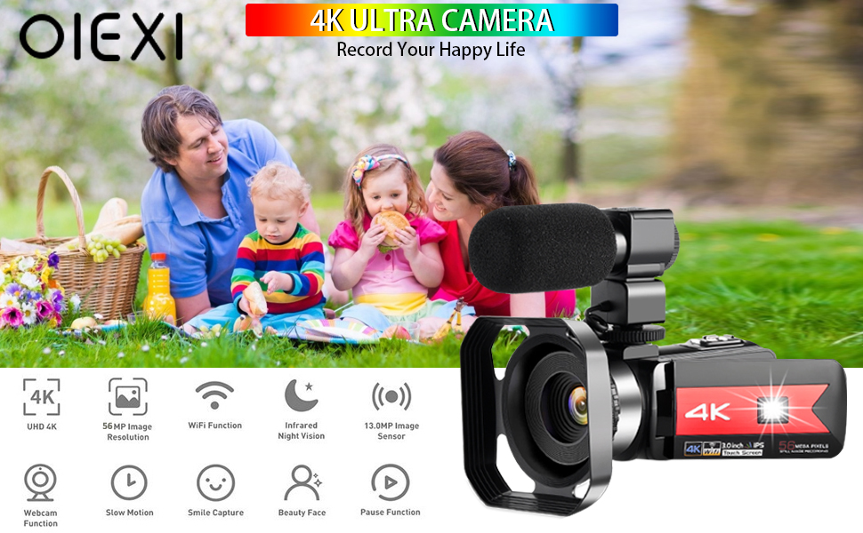 a254e81f eb7c 47ab a4c3 9dddf1c6076a.  CR0,0,970,600 PT0 SX970 V1    - OIEXI Video Camera 4K Camcorder Vlog Camera for YouTube, HD Digital Camera with 16X Digital Zoom and Night Vision, Video Recorder with Microphone (32GB SD Card, 2 Batteries Included