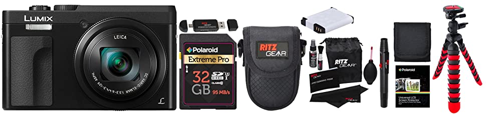 """crFazRkSVes. UX970 TTW   - Panasonic DC-ZS70K Lumix 20.3 Megapixel, 4K Digital Camera, Touch Enabled 3"""" 180 Degree Flip-Front Display, 30x Leica DC Vario-Elmar Lens, Wi-Fi with 3"""" LCD, Black, 32GB Memory and Accessory Bundle"""