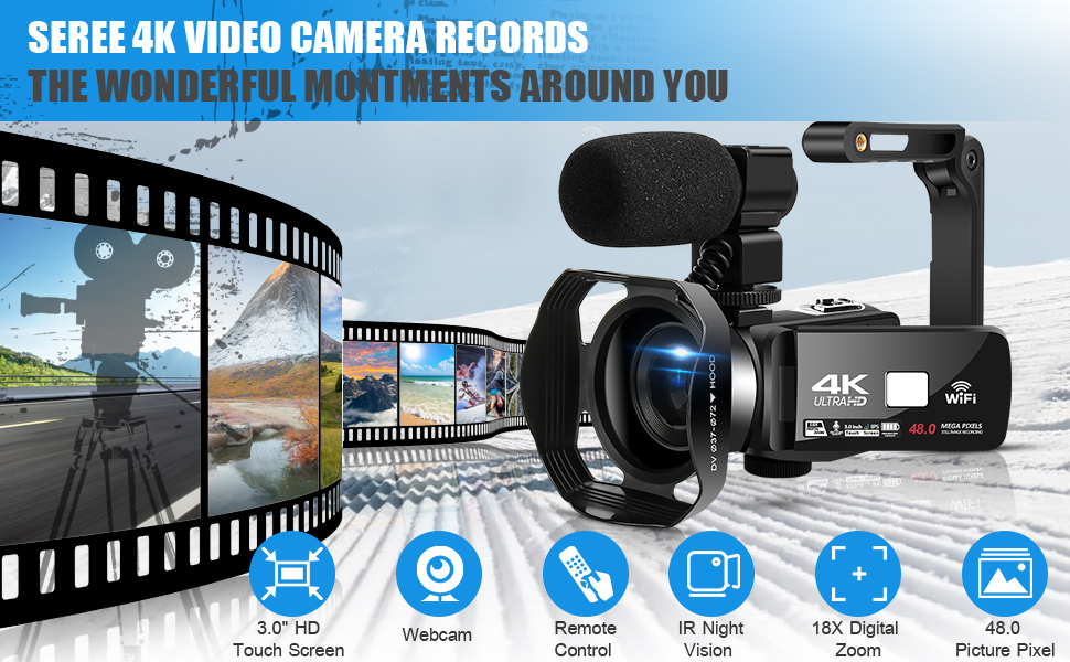 dbd3f72b 18fd 4559 9fe6 5418ebaaa011.  CR0,0,970,600 PT0 SX970 V1    - 4K Camcorder 48MP 18X Digital Camera WiFi IR Night Vision Video Camera for YouTube 3.0inch HD Touch Screen Vlogging Camera with External Microphone, Stabilizer and Remote Control