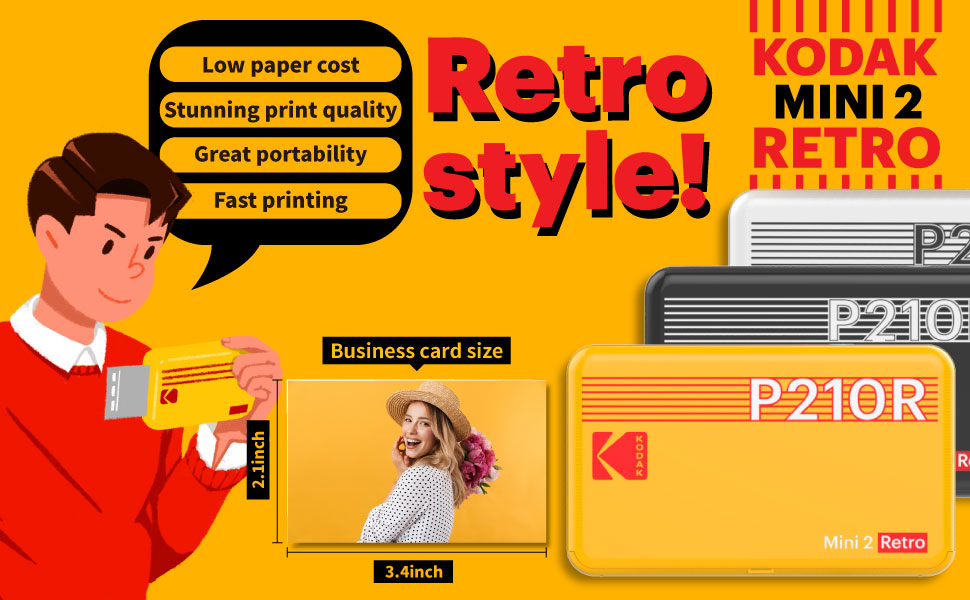 """e173cf7a 1c85 42a9 ace5 2e7214f5609b.  CR0,0,970,600 PT0 SX970 V1    - Kodak Mini 2 Retro 2.1x3.4"""" Portable Photo Printer (60 Sheets), Wireless Connection, Compatible with iOS, Android & Bluetooth, Real Photo, 4PASS & Lamination Process, Premium Quality- Black"""
