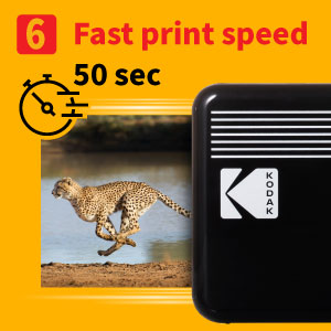 """f4d522c5 9b6b 4b36 bd58 37738600403d.  CR0,0,300,300 PT0 SX300 V1    - Kodak Mini 3 Retro 3x3"""" Portable Photo Printer, Compatible with iOS, Android & Bluetooth Devices, Real Photo: 4Pass Technology & Laminating Process, Print Photos - Black"""