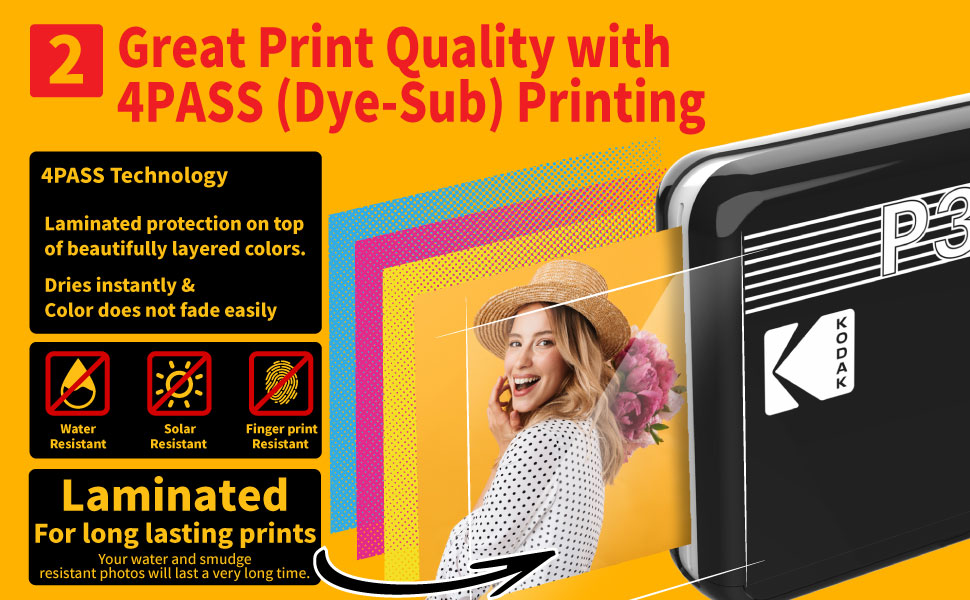 """f5f88804 1c6a 40e0 a0dc 28ae1bd5b945.  CR0,0,970,600 PT0 SX970 V1    - Kodak Mini 3 Retro 3x3"""" Portable Photo Printer, Compatible with iOS, Android & Bluetooth Devices, Real Photo: 4Pass Technology & Laminating Process, Print Photos - Black"""