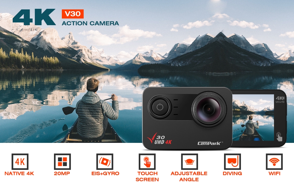 361195f6 eb26 4eb0 947f 8d70f017fc86.  CR0,0,970,600 PT0 SX970 V1    - Campark V30 Native 4K Action Camera 20MP EIS Touch Screen WiFi Waterproof PC Webcam with Optional View Angle, 2 1350mAh Batteries and Mounting Accessories Kit