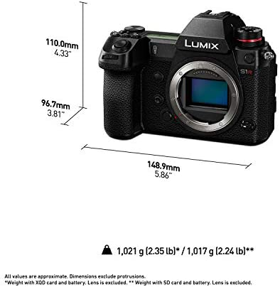 """414RLXPh6SL. AC  - Panasonic LUMIX S1R Full Frame Mirrorless Camera with 47.3MP MOS High Resolution Sensor, L-Mount Lens Compatible, 4K HDR Video and 3.2"""" LCD - DC-S1RBODY"""