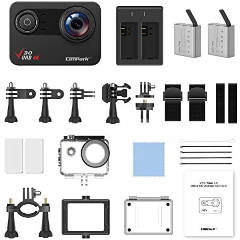417xowW2srL. AC  - Campark V30 Native 4K Action Camera 20MP EIS Touch Screen WiFi Waterproof PC Webcam with Optional View Angle, 2 1350mAh Batteries and Mounting Accessories Kit