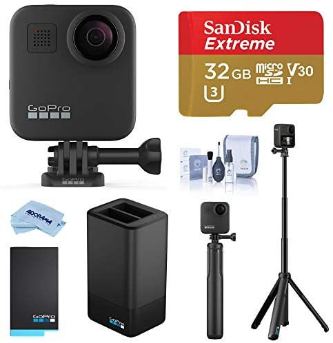 41ArLku9g L. AC  - GoPro MAX Waterproof 360 Camera with Touch Screen, 5.6K30 Video 16.6MP Photos Pro Bundle with Grip + Tripod, Dual Charger, Battery, 32GB microSD Card, Cleaning Kit