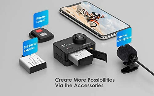 41Bm n0o3kL. AC  - COOAU Native 4K 60fps 20MP Touch Screen WiFi Action Sport Camera EIS Stabilization Underwater Waterproof Cam with External Microphone Remote Control 2x1350Amh Batteries